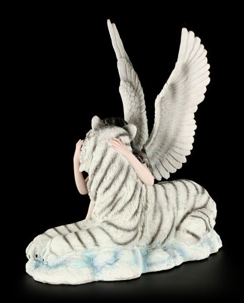 Angel Figurine - Liberty with Tiger - white