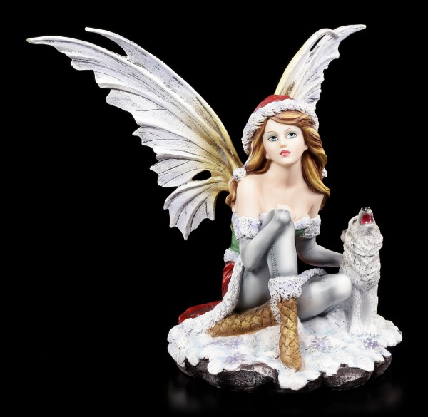 Winter Fairy Figurine - Valeriana with Wolf