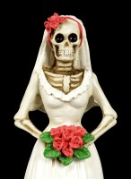 Skeleton Figurine - Bride with red Roses