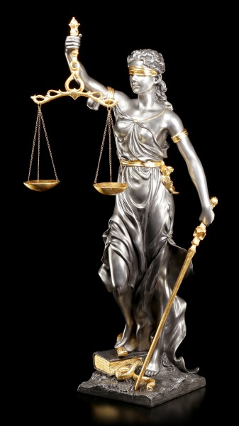 Large Justitia Figurine - Goddess of Justice - silver gold