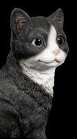 Cat Figurine - Sitting black & white