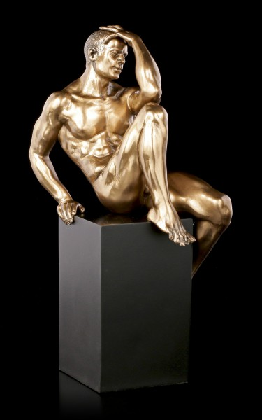 Male Nude Figurine - Sitting on Monolith
