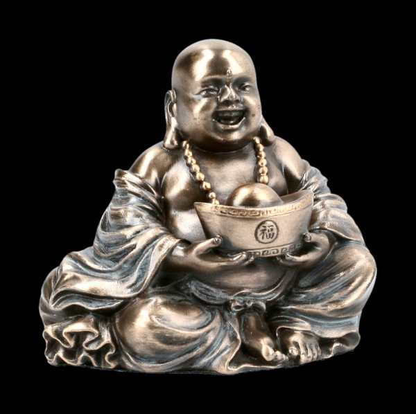 Happy Buddha Figurine holding Gold Nugget