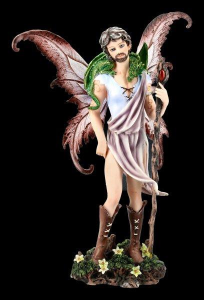 Männliche Elfen Figur mit Zauberstab und Drache