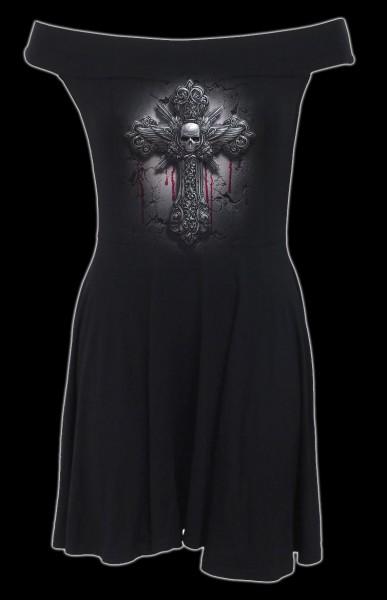 Bardot-Kragen Kleid Gothic - Crucifix