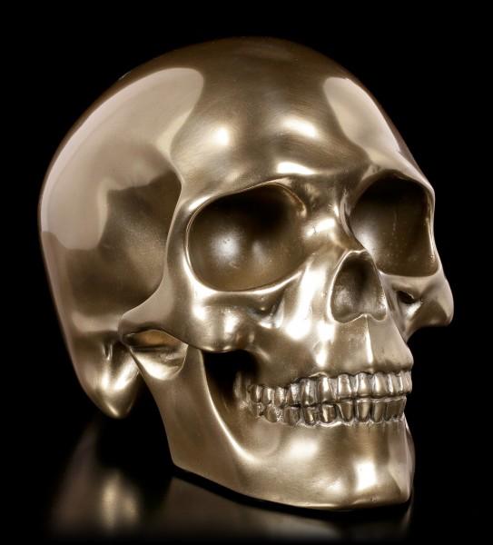 Menschlicher Totenkopf - bronziert