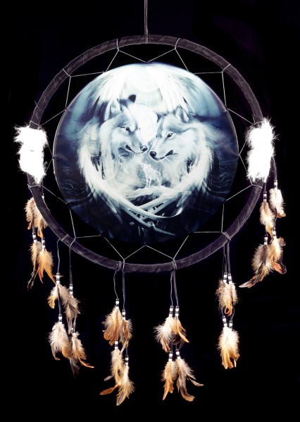 Großer Traumfänger mit Wolf - Spirit of the Wolf