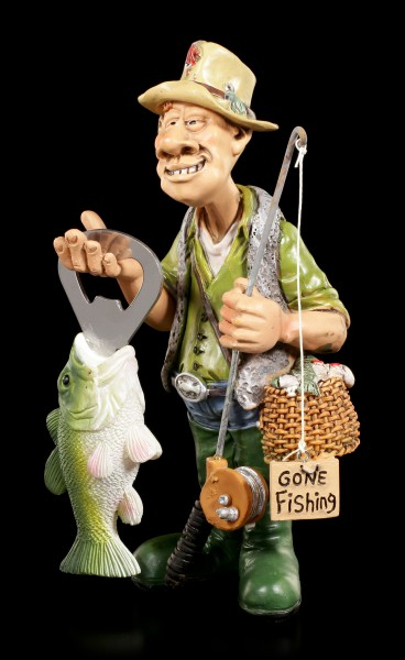 Angler Figurine with Fish as Bottle Opener