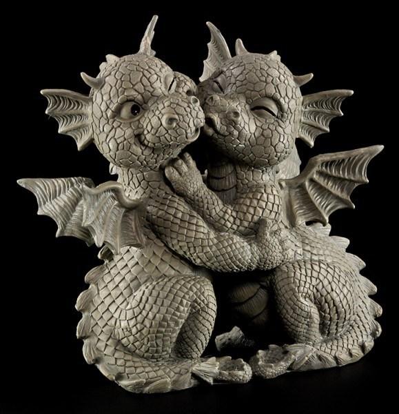 Gartenfigur - Drachen Paar küsst sich