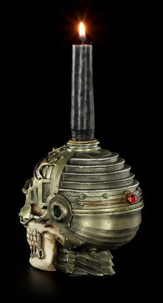 Steampunk Skull Candle Holder with secret place