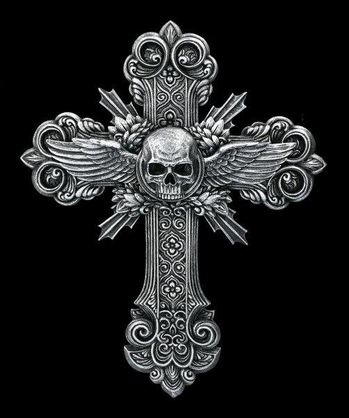 Wandrelief - Totenkopf Kruzifix