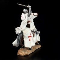 Knight Templar Figurine with Horse Fighting