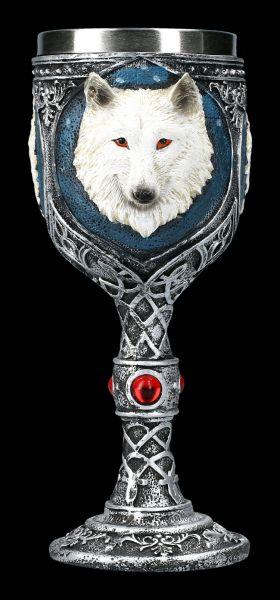 Fantasy Goblet - White Wolf with red Gemstones
