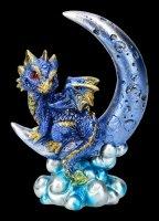 Dragon on Moon Figurine - Crescent Creature - blue