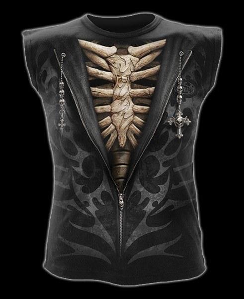 Ärmelloss Shirt - Gothic Rippen - Unzipped