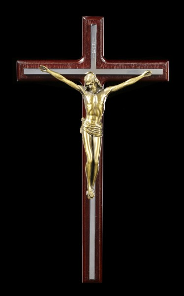Crucifix Wall Plaque - Jesus on silver Cross