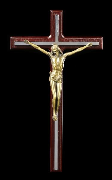 Kruzifix Wandrelief - Jesus an silbernem Kreuz