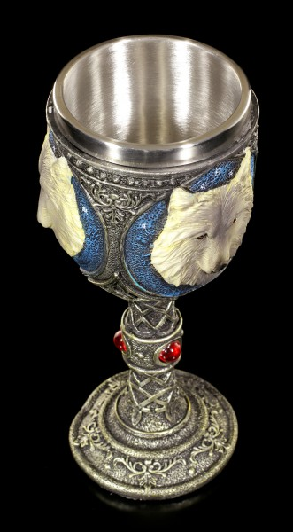 Fantasy Goblet - Lone Wolf with red Gemstones