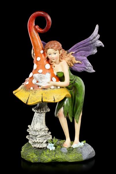 Elfen Figur - Siana mit Pilz und Vogel