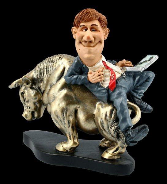 Funny Job Figurine - Stockbroker with Laptop