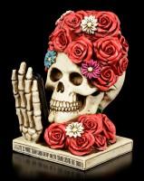 Skelett Totenkopf - Rosenkopf mit Telefon