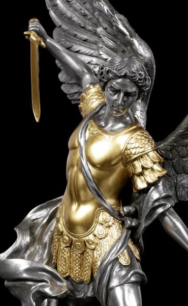 Erzengel Michael Figur - zinn/- goldfarben