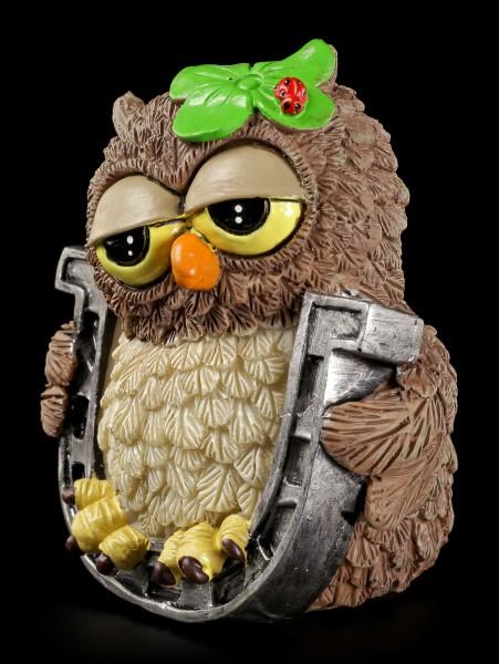 "Funny Owl Figurine - ""Good Luck"" with Horseshoe"