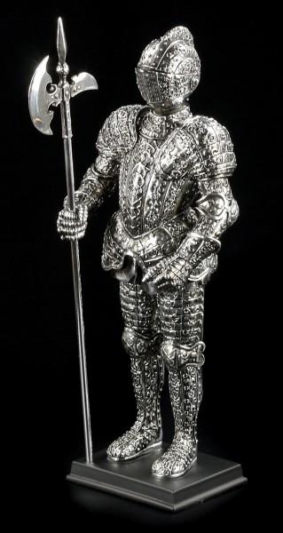 Deutsche Ritter Figur mit Hellebarde silberfarben