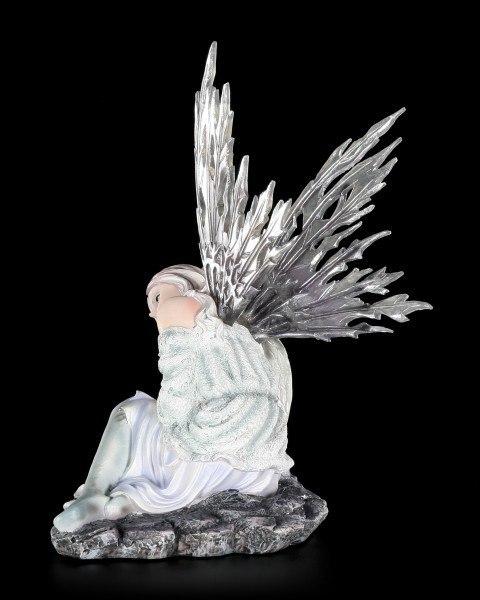 Elfen Figur - Valaria mit Drachenjungem im Winter