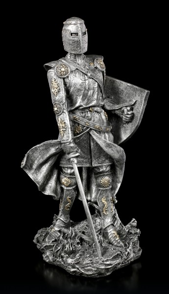 Knight Figurine with Shield and Sword - silver colored