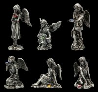 Kleine Zinn Engel Figuren mit Kristall - 6er Set