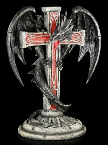 Große Drachen Figur an Kreuz - Mortiferos