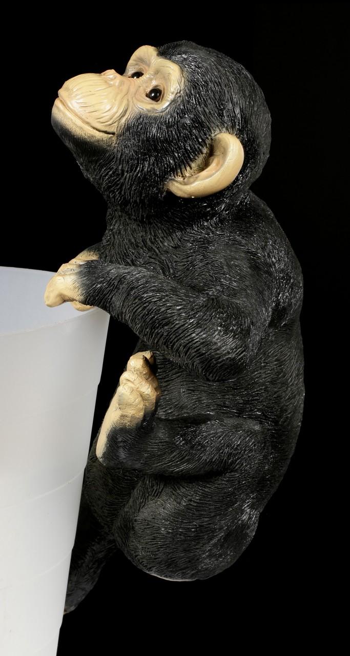 Gartenfigur - Schimpanse als Blumentopf- Zaunhänger