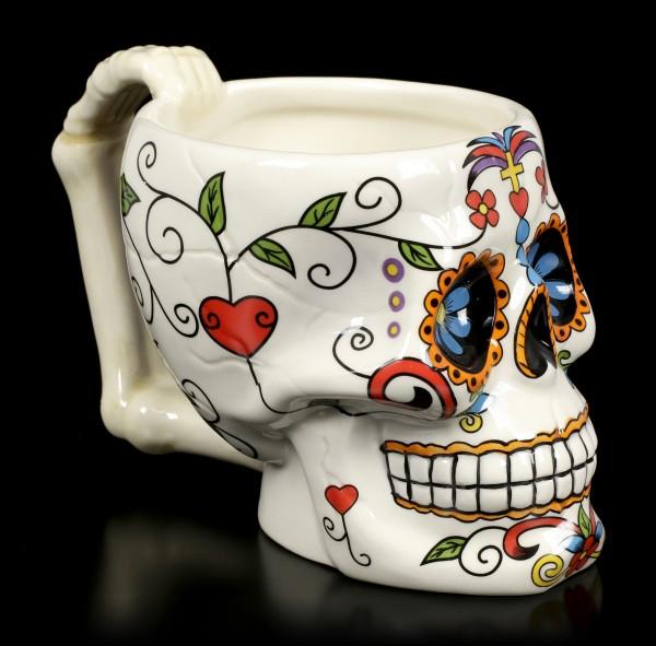 Skull Mug - Day of the Dead - Red Heart