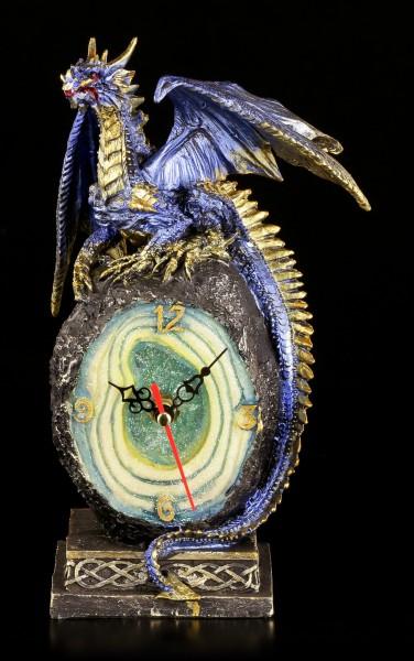 Tischuhr Drachen blau - Cobalt Crystal Core