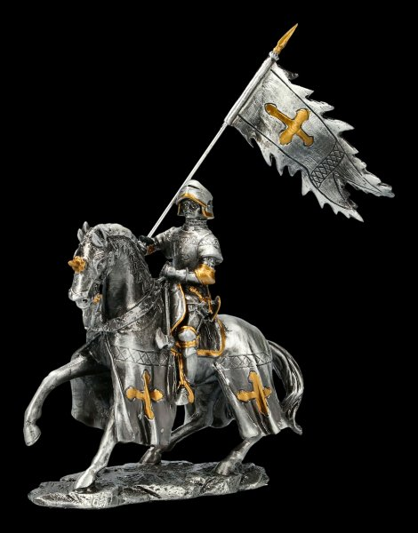 Pewter Knight on Horse with Flag