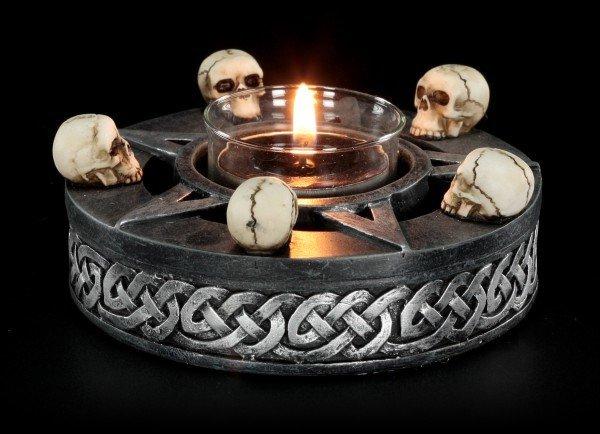Teelichthalter - Pentagramm mit Totenköpfen