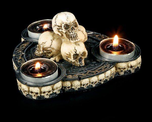 Teelichthalter 3-fach mit Totenköpfen