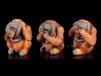 Three Wise Orangutan Figurines - No Evil
