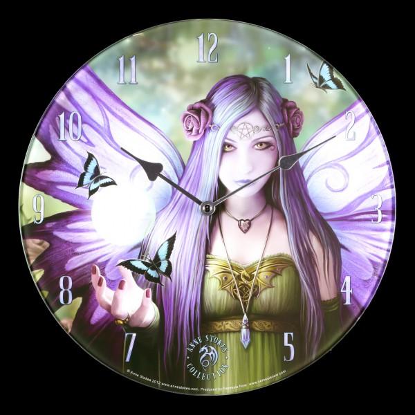 Glas Wanduhr mit Elfe - Mystic Aura