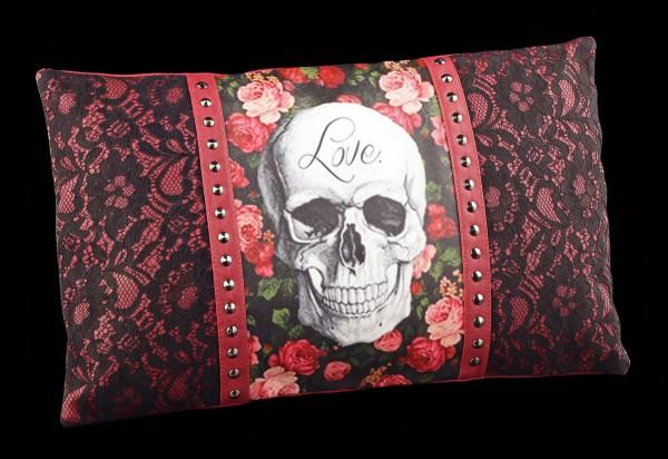 Boudoir Kissen mit Nieten und Totenkopf - Rose Skull
