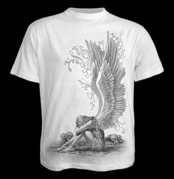 T-Shirt Gothic Engel weiß - Enslaved Angel