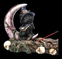 Räucherhalter - Hexen Katze mit Halbmond