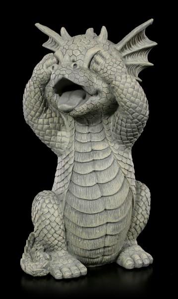 Drachen Gartenfigur - Hält sich die Augen zu