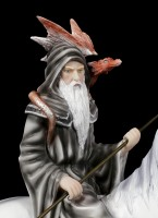 Sorcerer Figurine with Dragon on Unicorn
