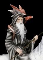 Zauberer Figur mit Drache auf Einhorn