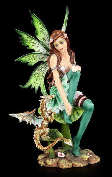 Grüne Elfen Figur - Sitzt auf Blatt mit Drache