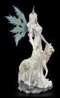 Große Elfen Figur - Maylea mit zwei weißen Wölfen