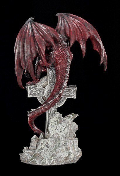 Dragon Figurine Red - On celtic Cross