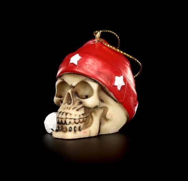 Christbaum-Schmuck - Totenköpfe mit Weihnachtsmütze - 6er Set
